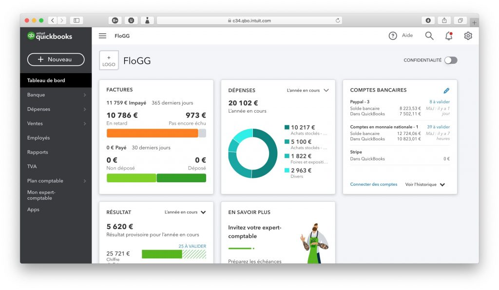 L'interface de Quickbooks